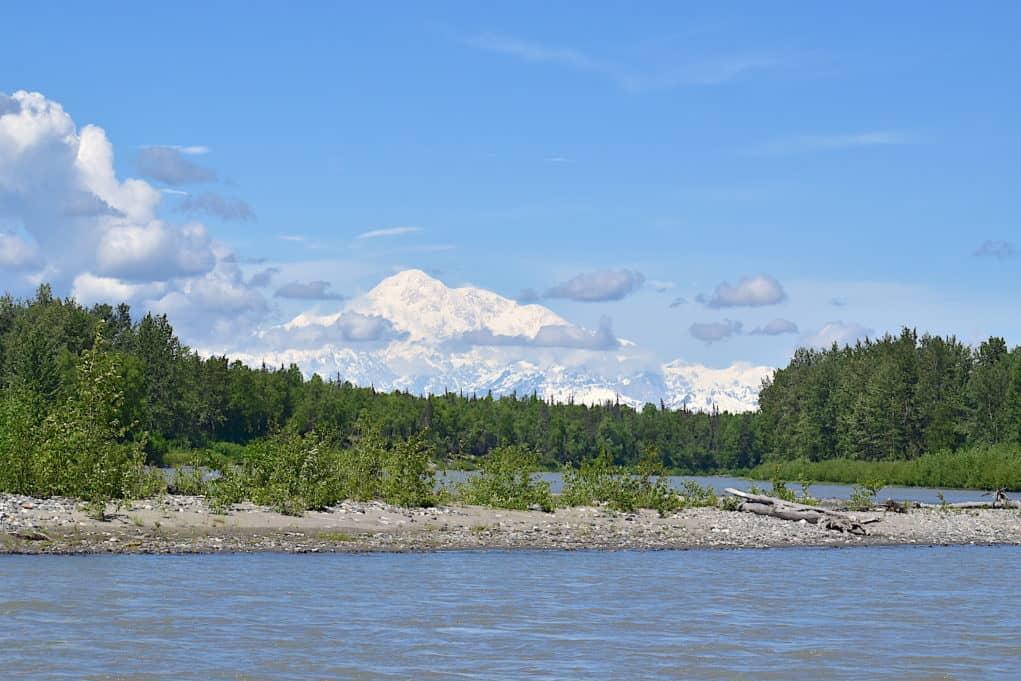 View of Denali from the Alaska Railroad train car