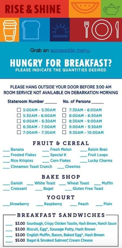 Carnival Cruise Line Breakfast Room Service Menu