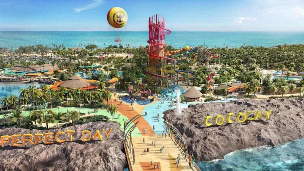 Perfect Day at CocoCay with view of Devil's Tower and balloon