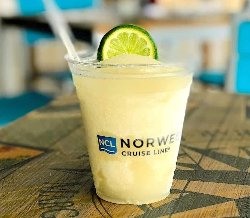 In the drink package, an ice-cold Margarita at Norwegian Getaway Margaritaville