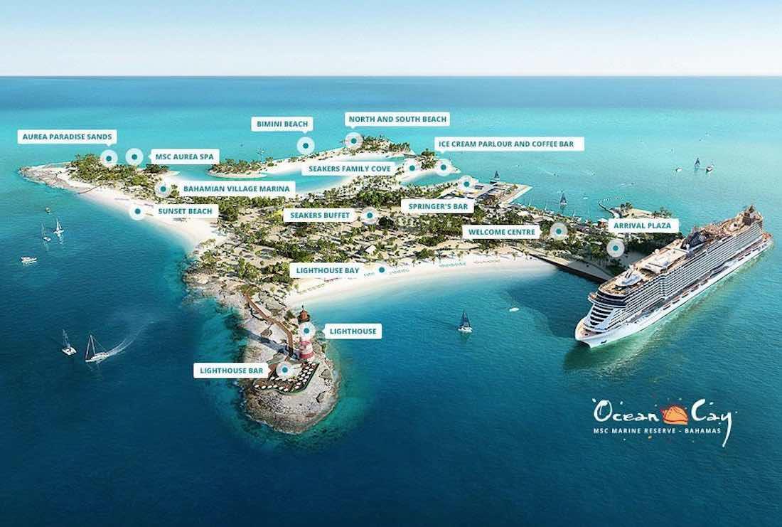MSC Cruises Ocean Cay Map