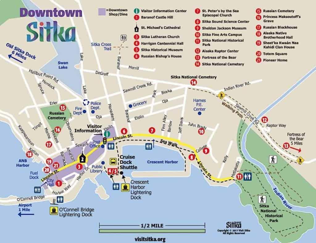 Sitka Alaska Walking Map