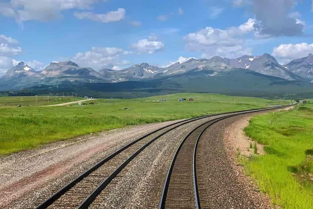 View of Glacier National Park aboard Amtrak Empire Builder