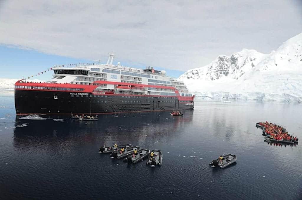 Vantage chartered Hurtigruten's Roald Amundsen ship for Antarctic expeditions.