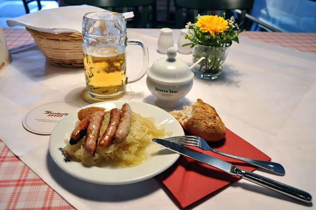 At the oldest sausage restaurant in Germany, Alte Würstküche, in Regensburg.