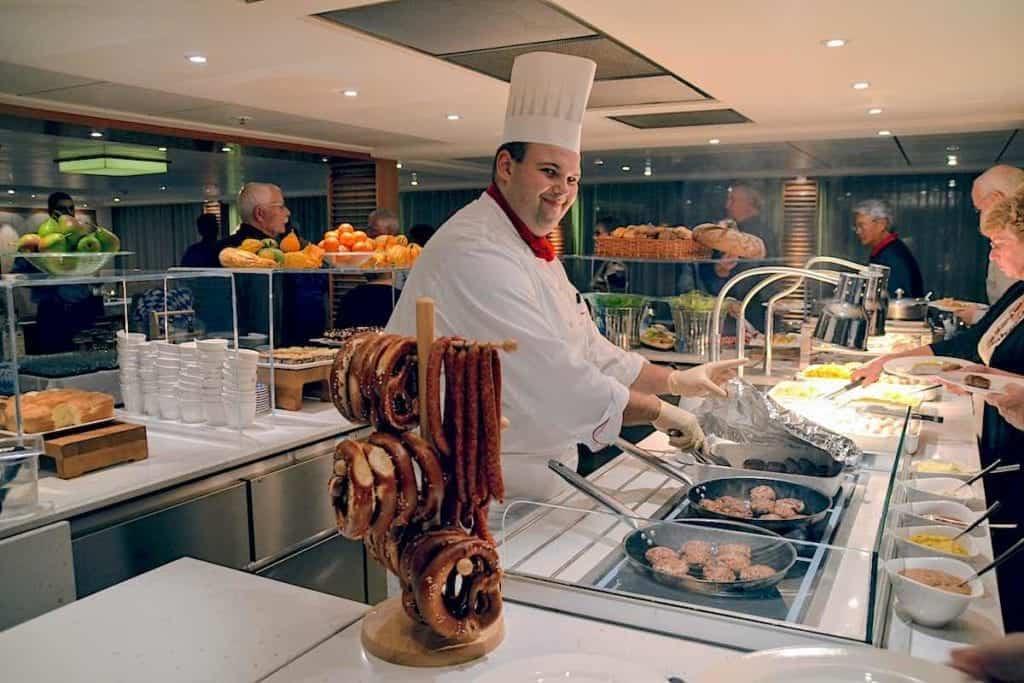 German Food night aboard Viking Skadi with smiling chef.