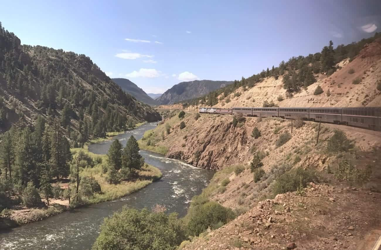 Aboard the California Zephyr along the Colorado River.