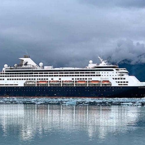 View of Holland America ship in Glacier Bay