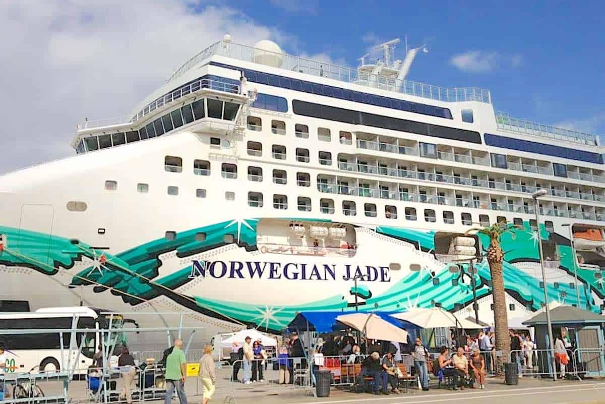 Norwegian Cruise Lines cancels all cruises through 2020, including Norwegian Jade seen here in Palma de Majorca.