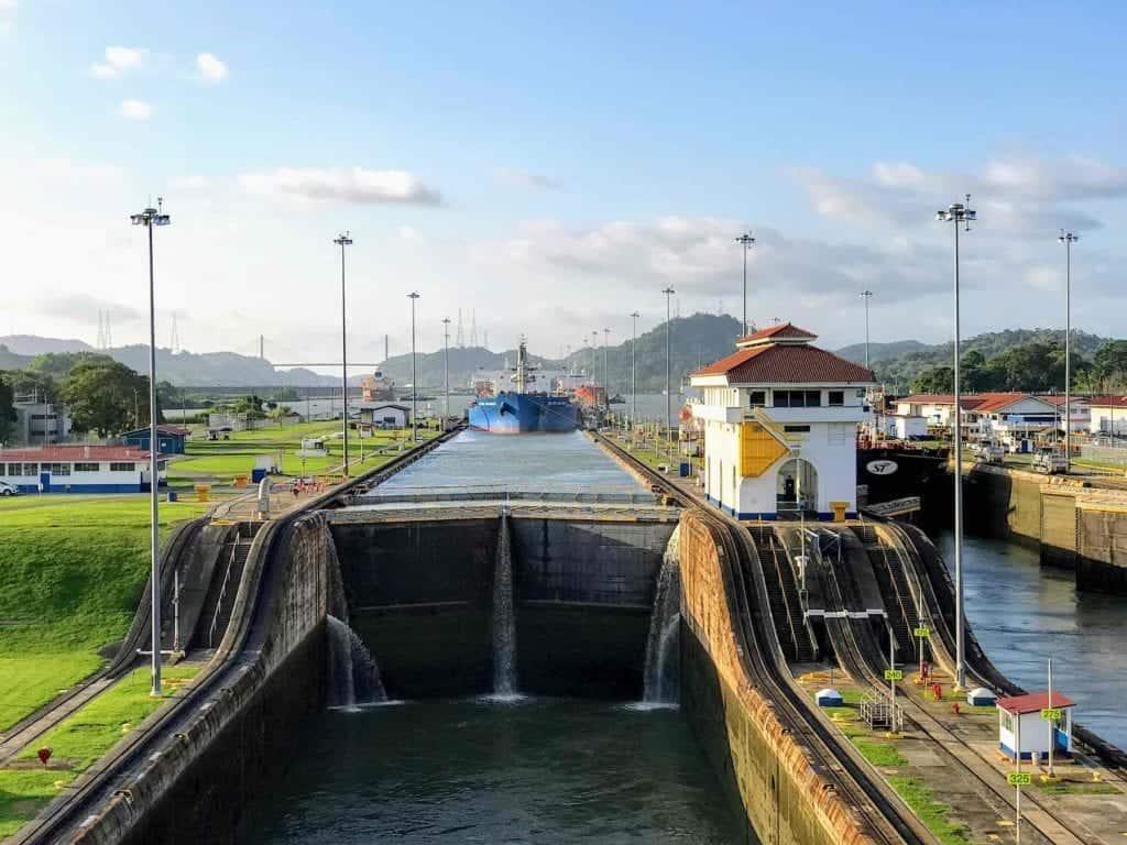 Panama Canal Cruise Ship going through the locks