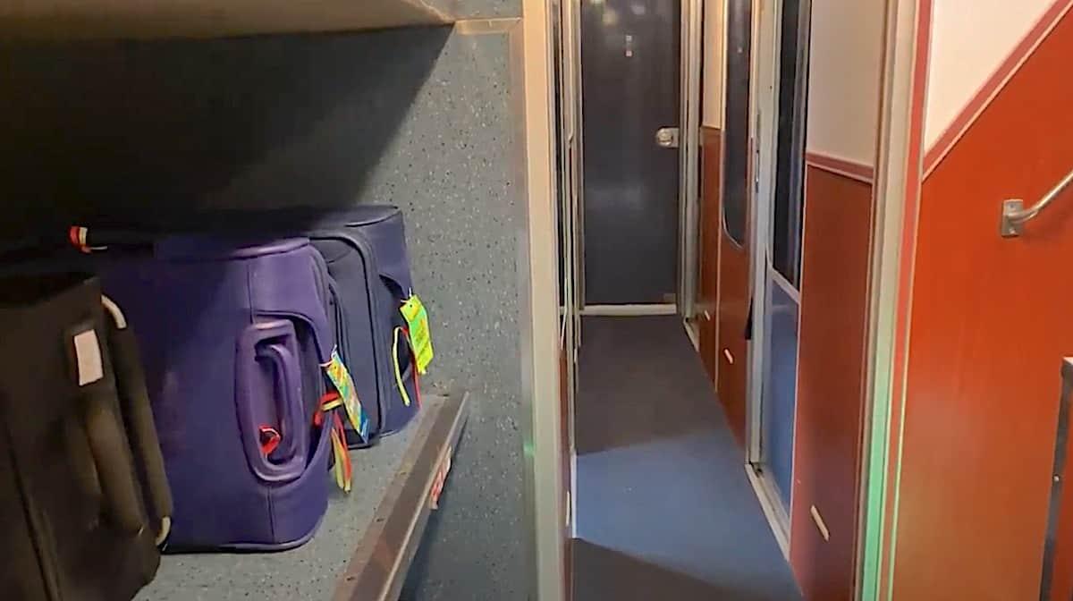 Amtrak Superliner Luggage Storage Rack on Lower Level