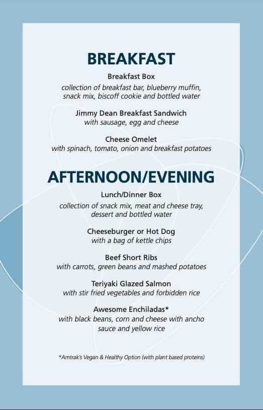 Amtrak Acela first class menu