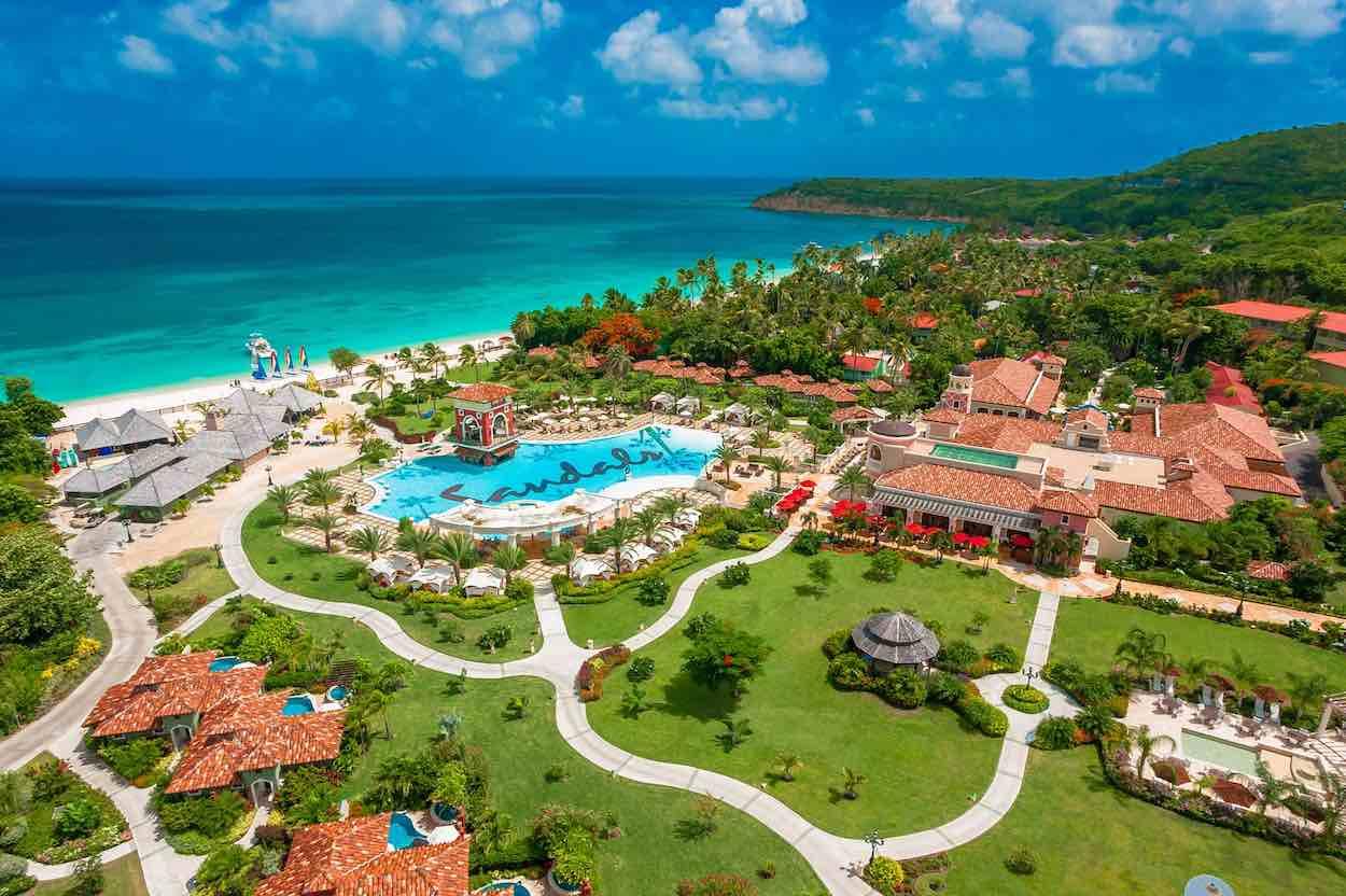 Aerial view of Sandals Grand Antigua Resort