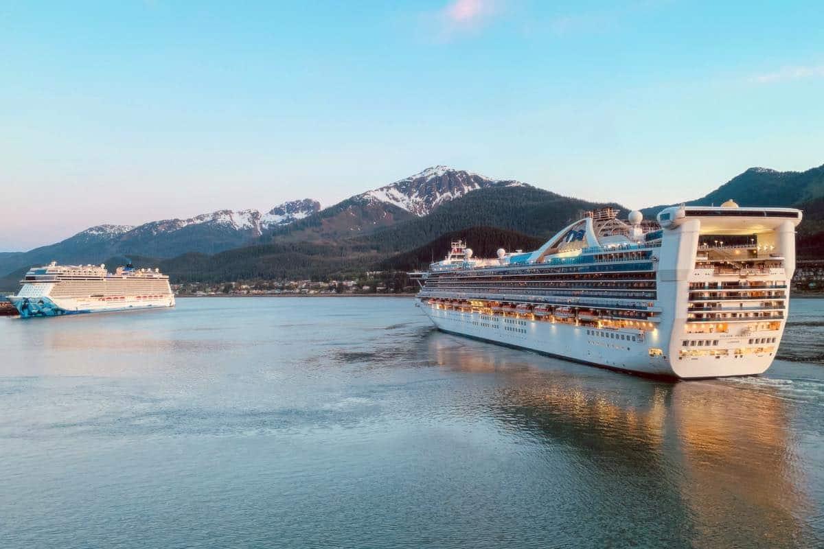 Princess ship leaves Juneau Alaska at sunset.