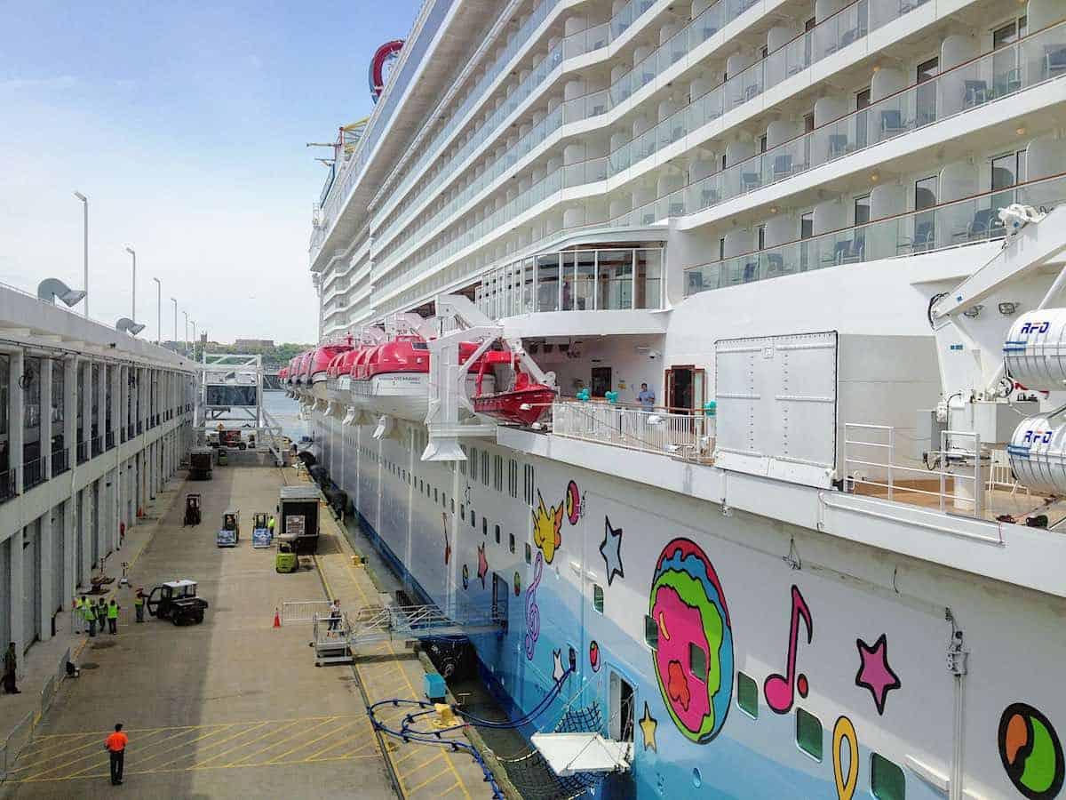 Norwegian Breakaway getting ready to cruise from New York City Manhattan Cruise Terminal