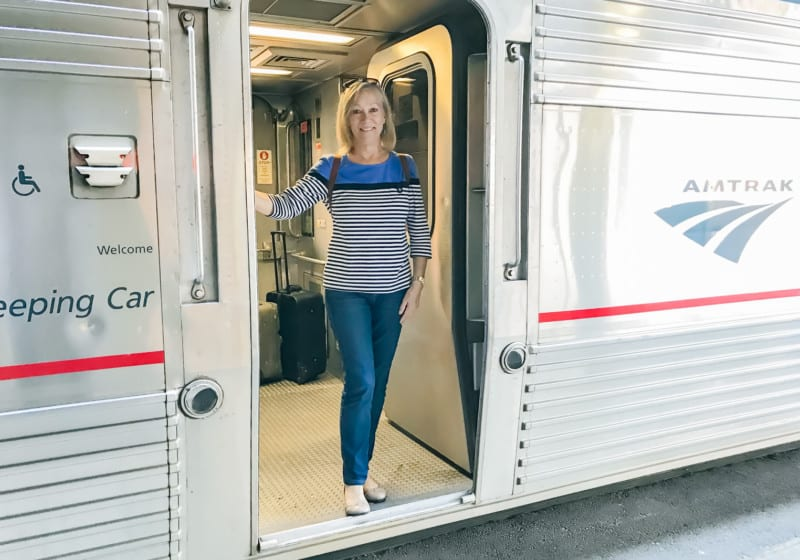 Sherry in Doorway on Amtrak Overnight Train
