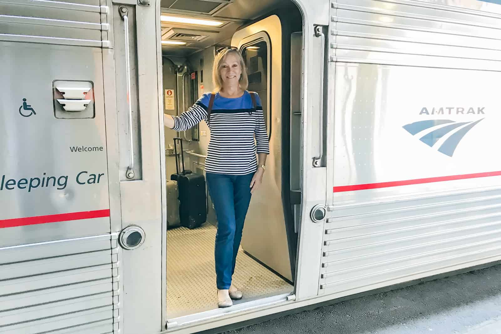 Sherry in Doorway on Amtrak Overnight Train